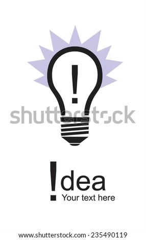 Bulb Icon and exclamation mark,  - stock vector