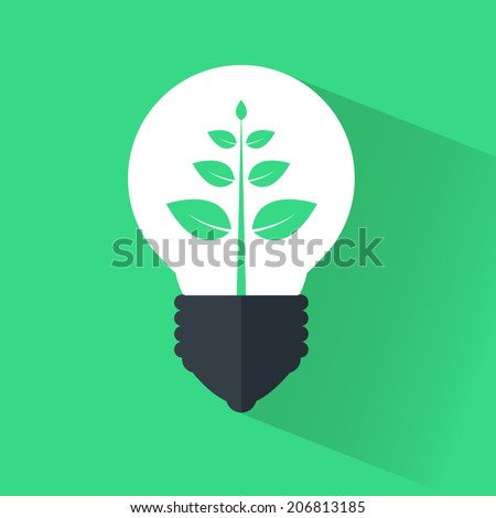 Bulb icon flat ecology, ecology flat design, flat ecology energy. Light bulb logo template - stock vector