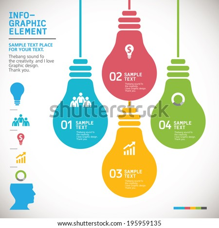 BULB ICON WITH IDEA CONCEPT. INFO GRAPHIC - stock vector