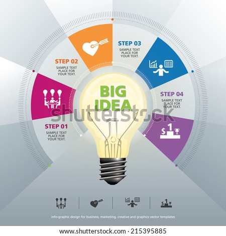 BULB ICON WITH IDEA CONCEPT. INFO GRAPHIC for business, marketing, creative, web design and graphics - stock vector