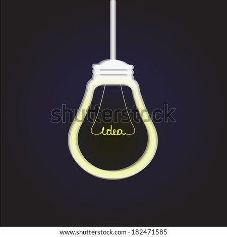 bulb icon with innovative idea on black background - stock vector