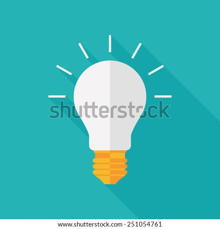 bulb icon with long shadow. flat style vector illustration - stock vector