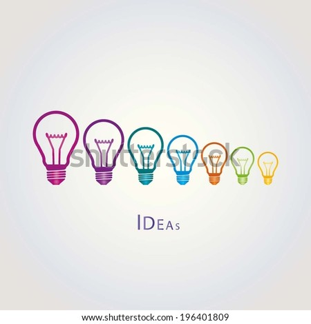 BULB ICONS WITH IDEA CONCEPT (SMALLEST TO BIGGEST IDEAS) illustration vector - stock vector