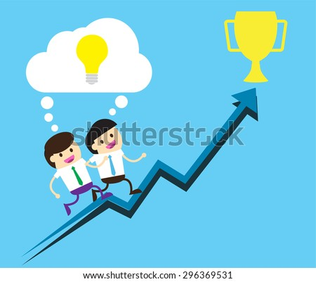 Bulb Idea two Businessman climbing ladder to Success. Vector illustration. Businessman climbing to goal. Motivation concept to be successful. winner. finish. win. flat design. arrow graph. trophy cup - stock vector