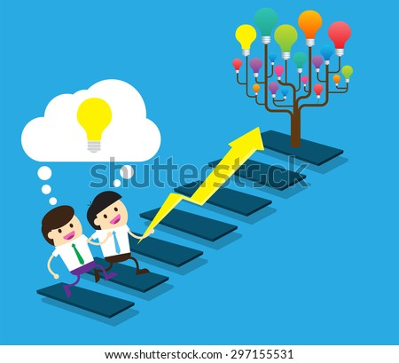 Bulb Idea two Businessman climbing ladder to Success. Vector illustration. Businessman climbing to goal. Motivation concept to be successful. winner.finish.win.flat design. arrow. money. tree - stock vector