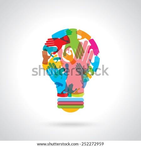 bulb idea with human hand - stock vector