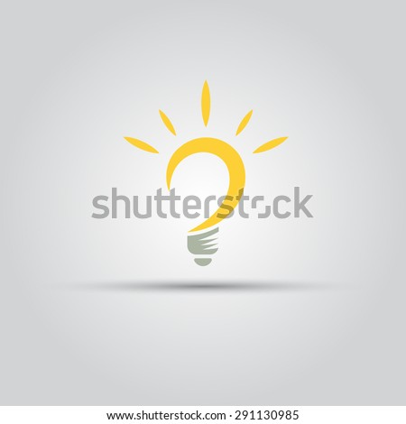 Bulb isolated vector abstract logo of lines - stock vector