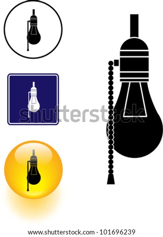 bulb lamp symbol sign and button - stock vector