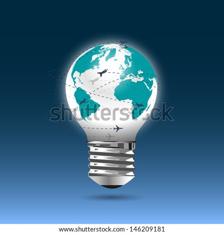 Bulb light - globe with flying planes. Conceptual vector