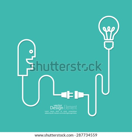 Bulb light idea. concept of big ideas inspiration innovation, invention, effective thinking. Starting the thinking process - stock vector