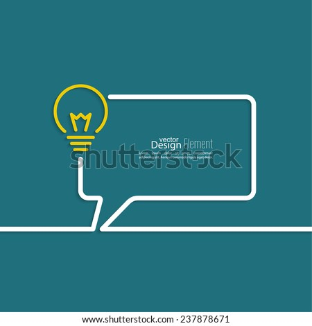 Bulb light idea. concept of big ideas inspiration innovation, invention, effective thinking. text. Speech Bubbles and Chat symbol. Outline. - stock vector