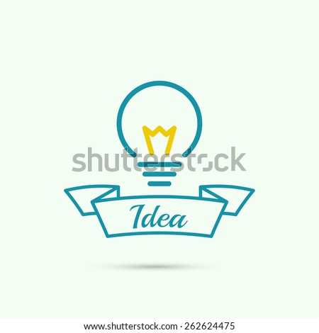 Bulb light idea. concept of big ideas inspiration innovation, invention, effective thinking. text. Label with ribbon. - stock vector