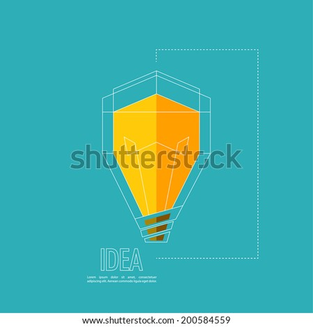 Bulb light idea. flat design. concept  of ideas inspiration innovation, invention, effective thinking - stock vector