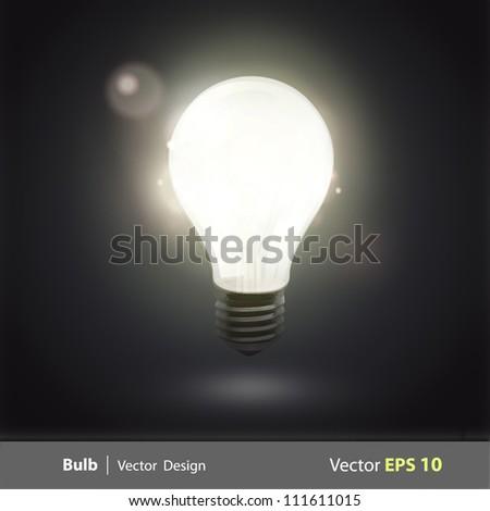 bulb light in the dark. Realistic vector design. - stock vector