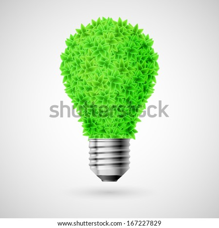 Bulb made of green leaves as concept of eco energy source. - stock vector