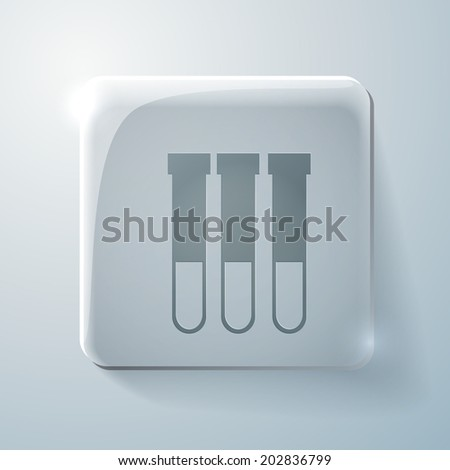 bulb or beaker symbol chemistry. Glass square icon with highlights - stock vector