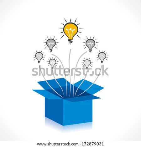 bulb out of the box concept vector - stock vector