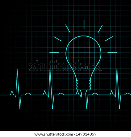bulb pulse idea heart beat, illustration eps 10 vector - stock vector