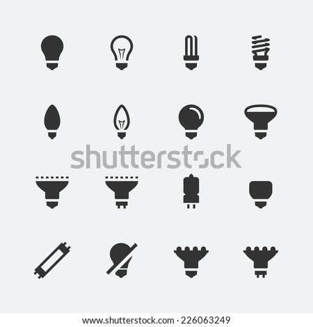 Bulb shapes and types vector icons set - stock vector
