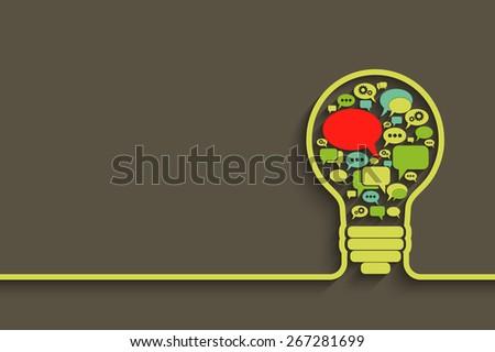 bulb with bubble speech, an idea concept. Vector illustration for your design - stock vector