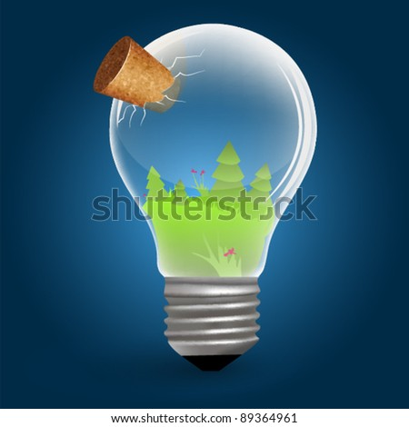 Bulb with cork - nature theme - spring