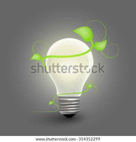Bulb with flower - space for text - eco theme