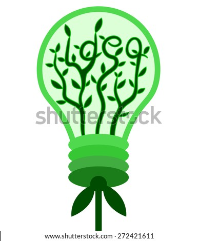 Bulb with green plant inside. Concept of a new idea - stock vector