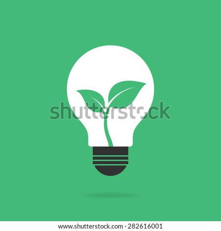 Bulb with leaves inside. Eco concept. Vector illustration.