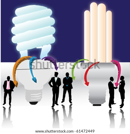 Bulbs and people - stock vector
