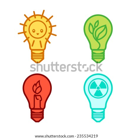 bulbs symbols of different types of renewable energy nuclear non-renewable solar -   template for the design of logos and signs - stock vector