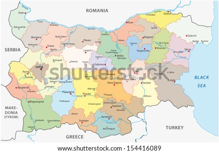bulgaria administrative map - stock vector
