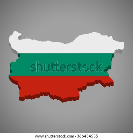 Bulgaria - 3D map and flag