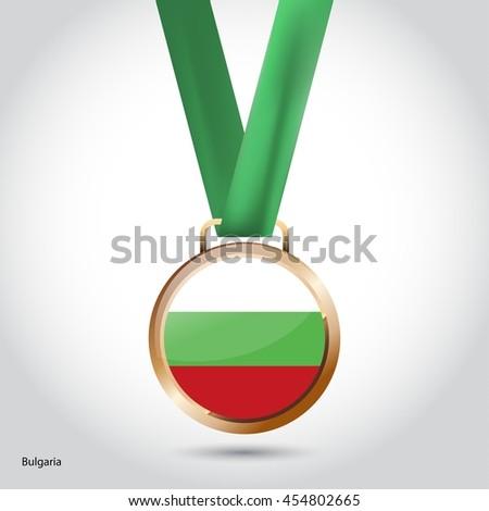 Bulgaria Flag in Bronze Medal. Olympic Game Bronze Medal. Vector Illustration - stock vector
