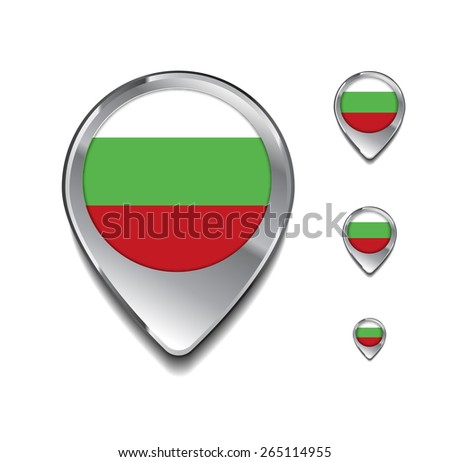 Bulgaria flag map pointer. 3d Map Pointer with flag glossy button style on gray background