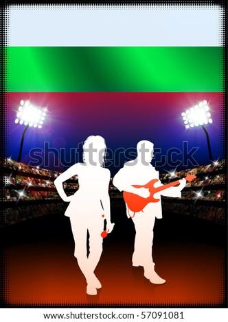 Bulgaria Flag with Live Music Band on Stadium Background Original Illustration - stock vector