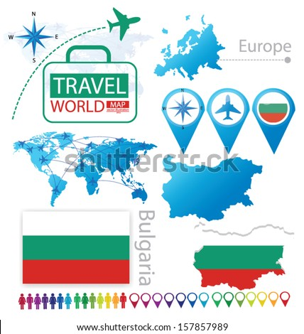 Bulgaria. flag. World Map. Travel vector Illustration.