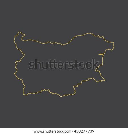 Bulgaria map,outline,stroke,line style - stock vector