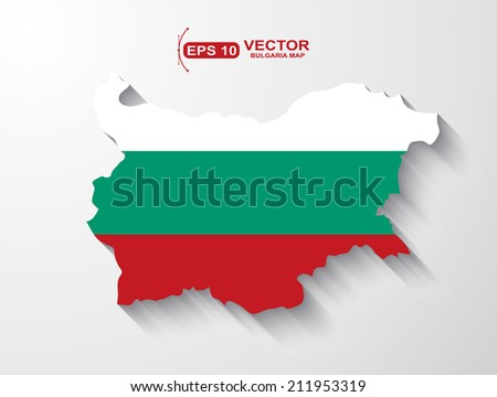 Bulgaria map with shadow effect - stock vector