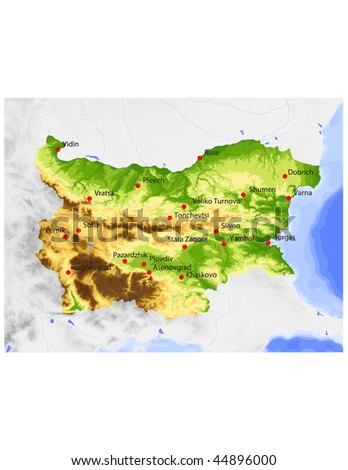 Bulgaria. Physical vector map, colored according to elevation, with rivers and selected cities. Surrounding territory greyed out. 56 named layers, fully editable. - stock vector