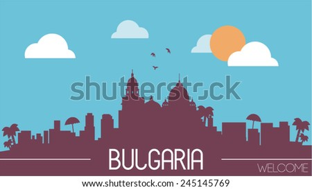 Bulgaria skyline silhouette flat design vector illustration.
