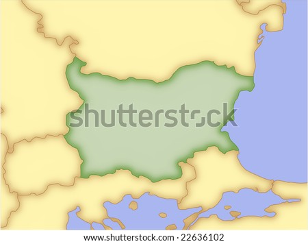 Bulgaria, vector map, with borders of surrounding countries. 5 named layers, fully editable. - stock vector