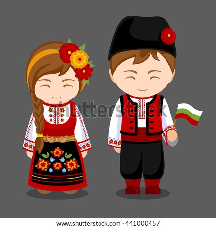 Learn How to Date a Latina Wife stock vector bulgarians in national dress with a flag a man and a woman in traditional costume travel to 441000457