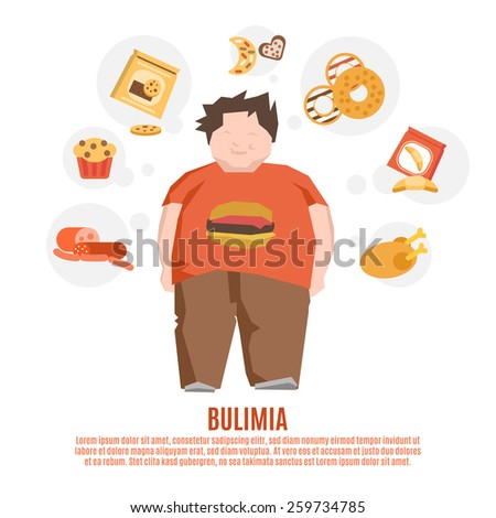 Bulimia support group concept with fat young man and unhealthy food flat vector illustration - stock vector