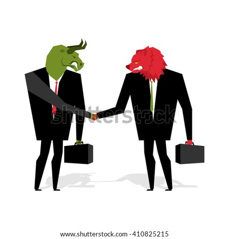 bull and bear Deal. Animals businessmen make trade. Men shake hands. Contract between traders on stock exchange. Handshake Beasts in suit and briefcase - stock vector