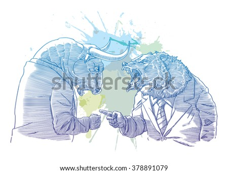 Bull and bear for trader - stock vector
