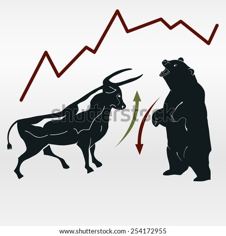 Bull and bear, market report, symbolic beasts of market trend with red and green arrows - vector - stock vector
