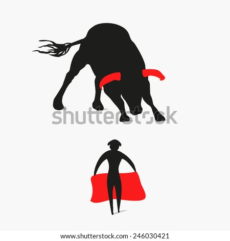 bull and matador - stock vector