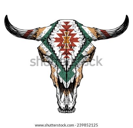 Bull / auroch skull with horns on white background. with traditional ornament on head - stock vector