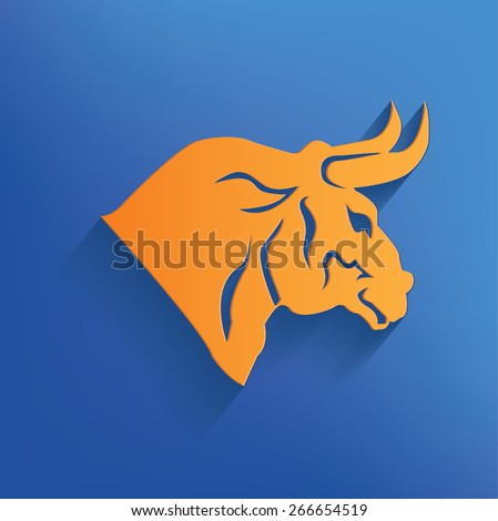 Bull design on blue background,clean vector - stock vector