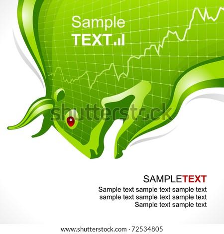 Bull frame green. Business and finance symbol - stock vector